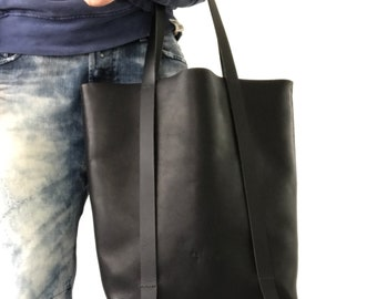 Thick black cow leather tote bag