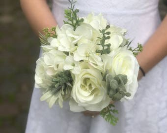 Cream white rose real touch hydrangea wild succulent garden bridal wedding bouquet with matching boutonnière