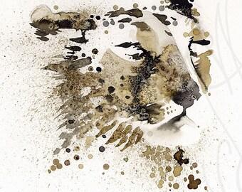 """Martinefa's Original watercolor and Ink """"Cheetah"""""""