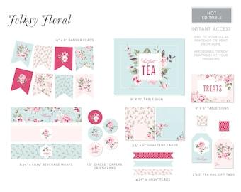 PDF Party Printables | Tea Party | Vintage Rose
