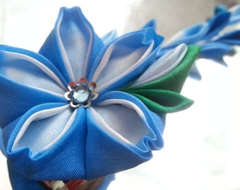 Kanzashi - Peacock Cherry Blossom And Pocket Mirror Set -- Silk Flower Hair Clip Brooch
