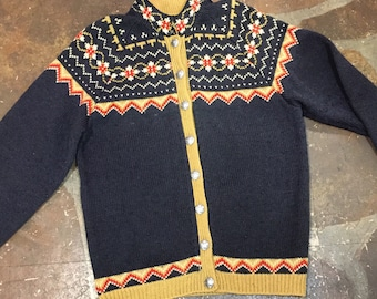 Nordic wool cardigan sweater with silver buttons