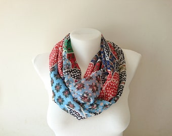 Boho Infinity Scarf, Colorful Floral Scarf, Flower Print Chiffon Loop Scarf, Womens Fashion, Circle Scarf, Women Accessories, Gift For Her