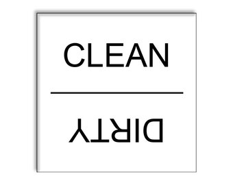 Clean Dirty Dishwasher Magnet 2.5 x 2.5 Inches, White Simple Neat Style Christmas Gift Idea Stocking Stuffer Party Favors Novelty Item