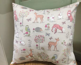 """16"""" Taupe Woodland Cushion Cover Foxes/Rabbit/Forest"""