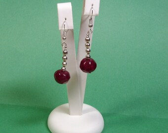 Natural Earth Mined 40.00 Carats of Rich Red Faceted Ruby, 925 Silver Gemstone Earrings