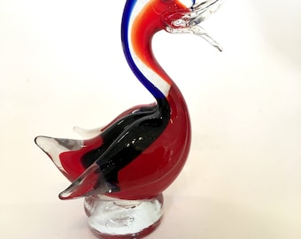 A kitsch 1960's Murano Sommerso glass  duck