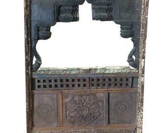 Antique Jharokha VINTAGE Natural Wood Shabby Chic Hand Carved Floor Mirror Frame Eclectic Furniture Living Room Decor