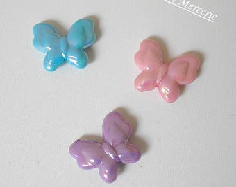 3 butterflies blue purple and pink acrylic beads