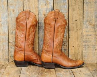 cognac leather boot cognac cuban heel boot caramel western boot caramel cuban heel boot 10 round toe boot 43 round toe boot 10 Tony Lama 43