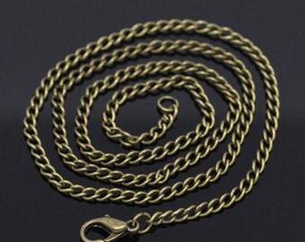 "12 pcs. Antique Bronze Textured Chain Link Necklaces 18"" - (3.6mm x 2.6mm Links) - Lobster Clasps - Claw Clasps"