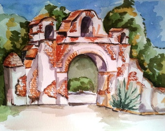 Mission San Miguel, California Mission, Spanish Mission, Old Mission, Rustic Mission, Missions of California, San Miguel, Watercolor Print