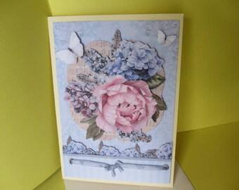 Vintage flowers & butterflies 3D card