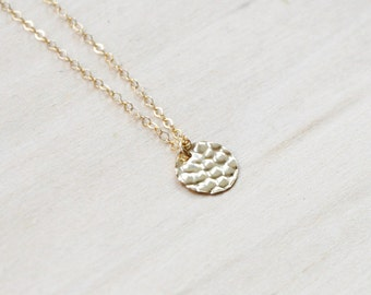 Gold Disc Necklace, Gold Necklace, Layering Necklace, Everyday necklace