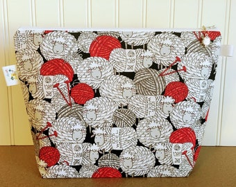 Sheep Knitting Project Bag, Zippered Project Bag, Project Bag Zipper, Crochet Project Bag, Yarn Bowl, Yarn Tote Bag, Project Bag