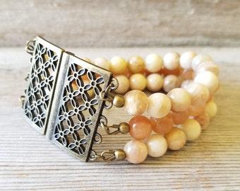 Wide Beaded Bracelet - Wide Bracelets for Women - Large Bracelet - Beaded Gemstone Bracelet - Yellow Beaded Bracelet - Wide Bracelet