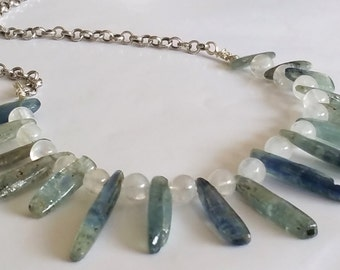 Deep Oceans Natural Rainbow Moonstone Blue Kyanite Crystal Fine Silver Chain Neckace