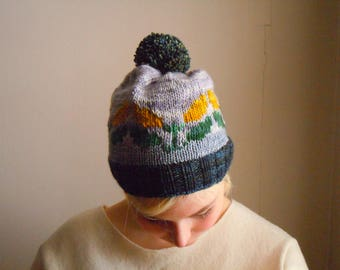 Leaves pompom beanie - green, gray, yellow