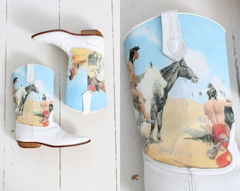Vintage 1980s Seychelles Boots | native american design painted cownboy boots | white leather | 8
