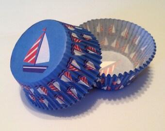 Sail Boat Print Cupcake Liners