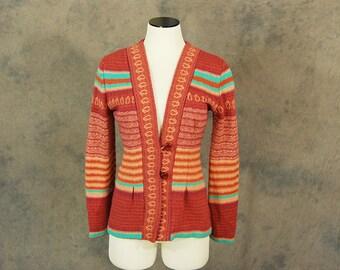 vintage 70s Cardigan - 1970s Boho Pink Striped Cardigan SZ S M