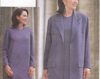 Free Us Ship Sewing Pattern Vogue Woman 9551 Retro 1990s 90's Dress Jacket Size 6 8 10 Bust 30.5 31.5 32.5 Uncut