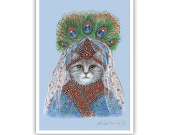 Cat Princess of the East - Cat Art Print - Pets in Art - Peacock Feathers Art - Whimsical Animal Portraits by Maria Pishvanova