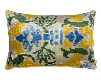 velvet ikat pillow ( 16 x 24  inches ) ( 40 x 60 cm )