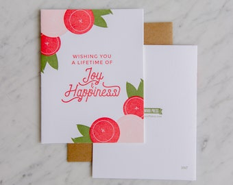 Joy & Happiness, Wedding Cards, letterpress,