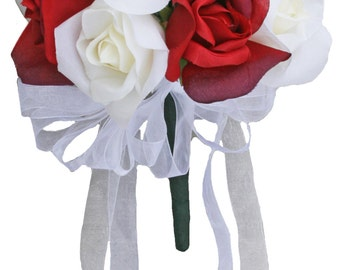 Red and Ivory Silk Rose Toss Bouquet - 1 Dozen Silk Roses - Bridal Wedding Bouquet