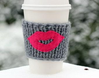 Coffee Cozy Sleeve  Tea Mug Cup Cozy Sleeve - Hand Knit Gray Cozy with Felt Pink Lips