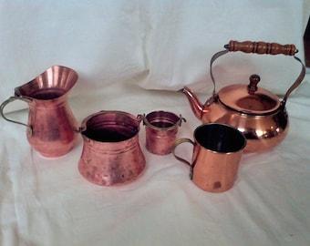 Copper tea kettle, Vintage Kitchen, Water kettle, Tea Pot, cream pitcher , 5 pc.