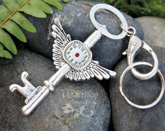 Time flies key chain - key ring with giant winged key with clock face with red crystal - converts to purse or bag clip -  free shipping USA