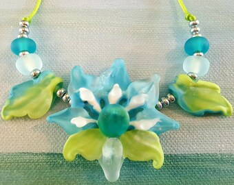 Frosted Garden Etched Lampwork Jacobian Glass Floral Bead Set by Helen's Harvest