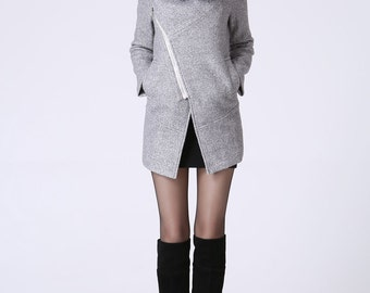 Gray coat, Asymmetrical coat, mini coat, wrap coat, wool coat, winter coat, pocket coat, hood coat, women winter coat, womens coat  (1060)
