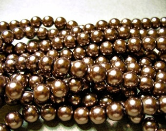 Glass Pearls Sepia 6MM