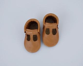 t straps / baby moccasins mocks / soft soled shoes /  golden caramel