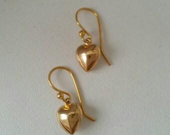 14k Vintage heart drop earrings