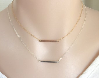 Dainty Bar Necklace, Layering Necklace, Small Bar Necklace, Gold Bar Necklace, Narrow Bar Necklace, Minimalist Necklace, Slim Bar Necklace