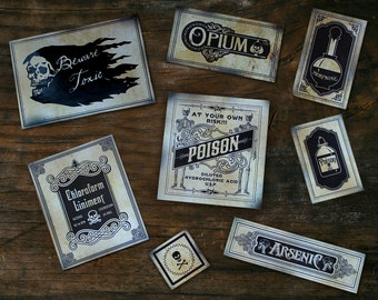Stickers, Poison, Skeletons, Skull Medicine Bottles Apothecary Victorian Cabinets PART 1