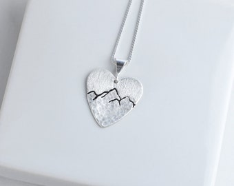 Sterling Silver Heart Mountain Necklace