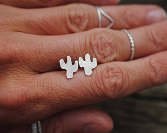 Tiny Silver Cactus Studs | Earrings | Sterling Silver
