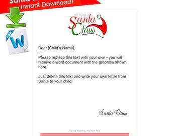 Santa Letterhead- Letter from Santa PRINTABLE- Santa Claus Letter- Santa Printable- Santa Letter Printable- North Pole- Santa Stationary