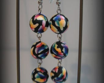 Earrings made with fimo, multicolor flower pattern