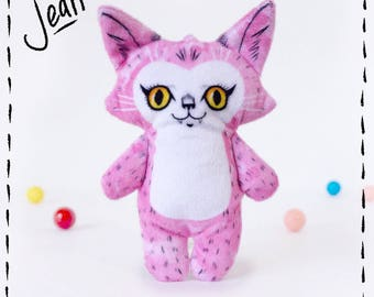 Illustrated cat doll - Jean - Soft Minkie stuffed animal