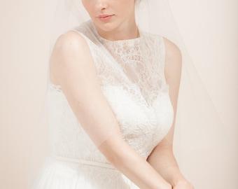 Wedding veil, Juliet cap veil, bridal cap veil, French Juliet veil with embroidered lace flowers -- Style 351