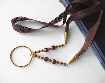 Lace Glasses Lanyard, Brown Glasses Holder, Eyeglass Lanyard, Crochet Lanyard, Crystal Holder Necklace, Glasses Chain, Glasses Necklace