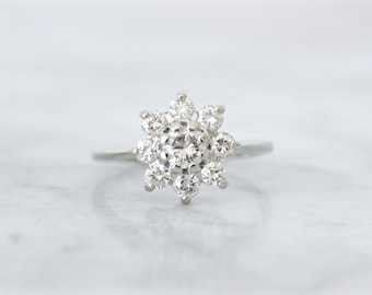 Vintage Halo Engagement Ring, 1960s Diamond Cluster Ring, 0.89 CTW, 14k White Gold Snowflake Ring, Delicate Diamond Bridal Jewelry Size 7.25