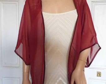 Burgundy/wine/dark red chiffon kimono/jacket/wrap/cover-up/bolero with satin edging