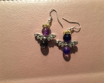 Earrings, dangle, purple angel with silver wings and gold rhinestone halo on sterling silver hooks.